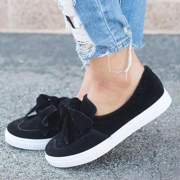 Massimoda Women's Fashion Top Knot Wide Casual Slip-on Sneakers