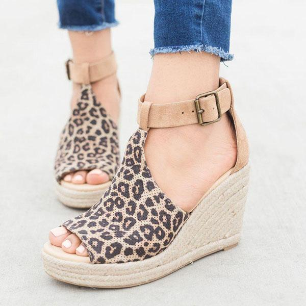 Massimoda Casual Chic Espadrille Wedges Adjustable Buckle Sandals
