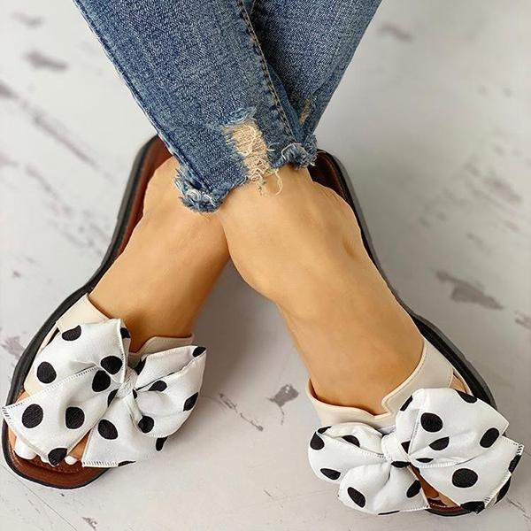 Massimoda Bowknot Design Open Toe Slippers