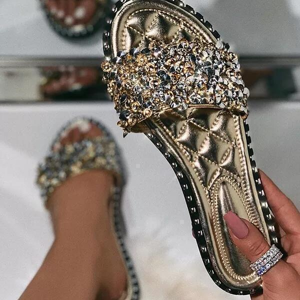 Massimoda Casual Beaded Flat Slippers