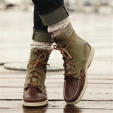Massimoda Women Casual Lace-Up Flat Heel Ankle Boots