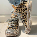 Massimoda Fashion Leopard Rivet Embellished Lace-Up Sneakers