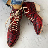 Massimoda Pointed Toe Lace-up Snakeskin Chunky Heeled Boots