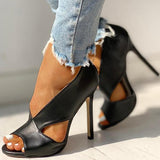 Massimoda Solid Peep Toe Cut Out PU Thin Heels