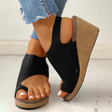 Massimoda Toe Ring Cutout Slingback Sandals