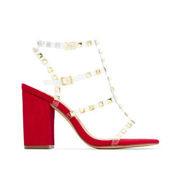 Massimoda Gold-Tone Studs Red Single Sole Hee Sandals