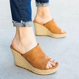 Massimoda Chic Slip-On Espadrille Wedges Sandals