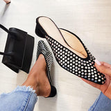 Massimoda Faux Suede Mule Flats Black Slippers