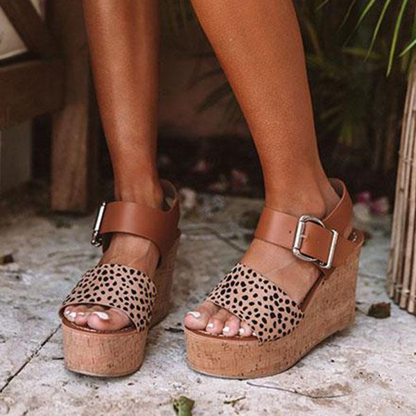 Massimoda Reece Cheetah Wedge Buckle Straps Sandals