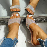 Massimoda Glitter Studded Open Toe Thin Heels Sandals