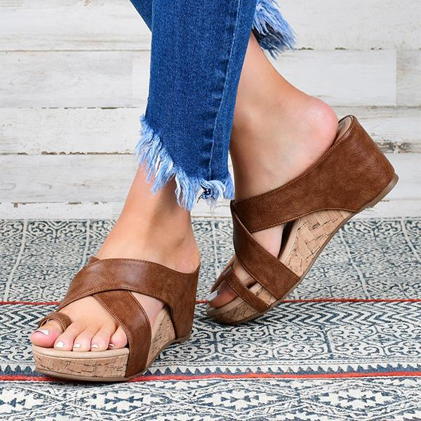 Massimoda Crisscross Toe Wedge Sandals