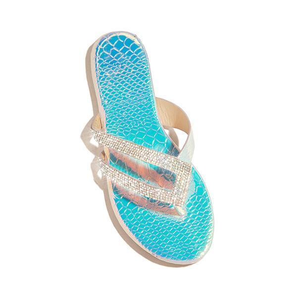 Massimoda Shiny Rainstone Casual Flip-flop Slippers