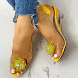 Massimoda Studded Flower Design Transparent Wedge Sandals