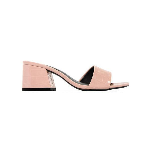 Massimoda Embossed Croc Chunky Heel Single Sole Mule Sandals