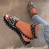 Massimoda Open Toe Buckle Casual Rivet Sandals