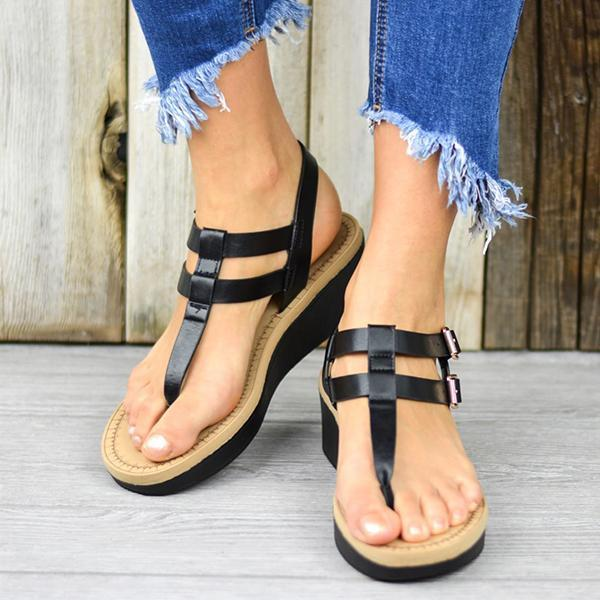 Massimoda Adjustable Buckle T-Strap Wedge Sandals