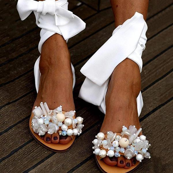 Massimoda Women Pearl Ankle Strap Flat Wedding Sandals
