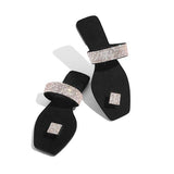 Massimoda Women Square Toe Rhinestone Slippers