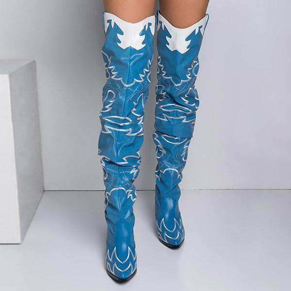 Massimoda Western Over The Knee Boots