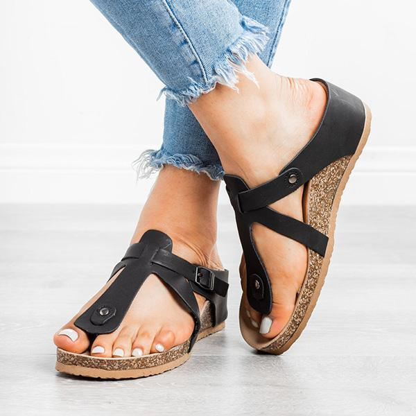 Massimoda Buckle Thong Flat Flip Flops Sandals