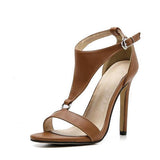 Massimoda Adjustable Buckle Thin High Heel Sandals
