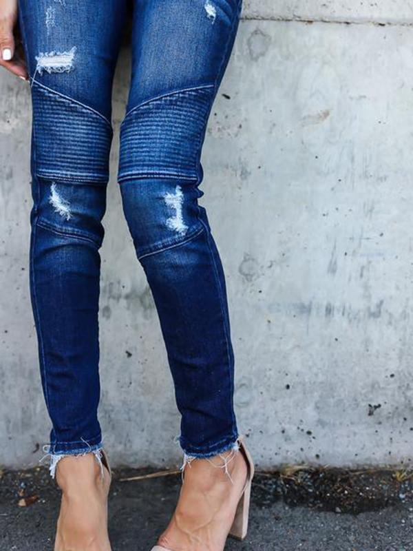 Massimoda Slim-fit Hole-breaking Jeans