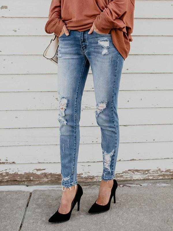 Massimoda Shredded Stretch Slim-fit Jeans