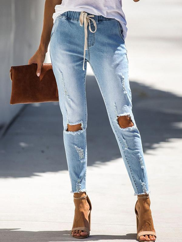 Massimoda Belted Hole-breaking Jeans