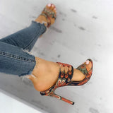 Massimoda Feather Print Heel Sandals