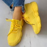 Massimoda Non-Slip Knitted Breathable Lace-Up Sneakers