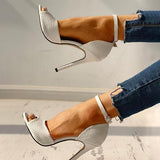 Massimoda Party Peep-Toe Ankle Strap Thin Heels