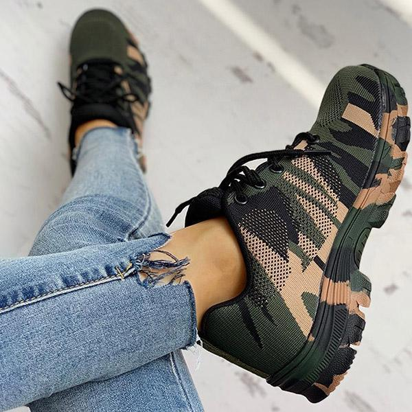 Massimoda Platform Breathable Lace-Up Climbing Sneakers