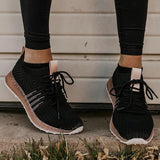 Massimoda Comfy Pink Stripe Athletic Sneakers