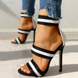 Massimoda Stripes Open Toe Thin Heels