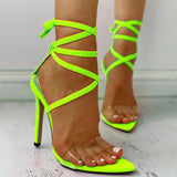 Massimoda Transparent Strap Lace-Up Thin Heels