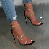 Massimoda Butterfly Chain Zipper High Heels