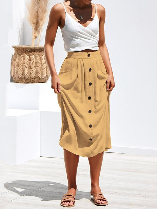 Massimoda Four-color-breasted Loose Pocket Skirt