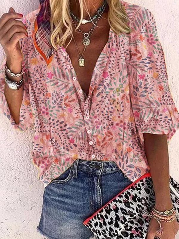 Massimoda Floral Casual Collar Long Blouse