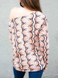 Massimoda Pretty Little Python Print Off Shoulder Top