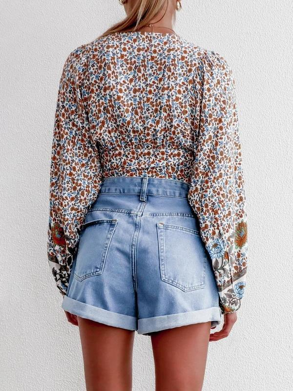 Massimoda Flower Cropped Rayon Not lined Top