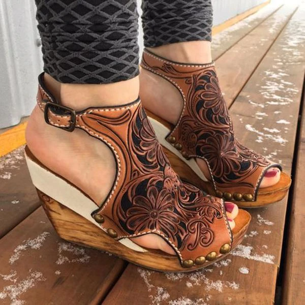 Massimoda Wedge Print Faux Leather Sandals