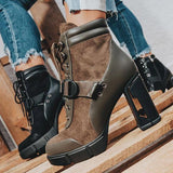 Massimoda Adjustable Buckle Straps Platform High Heel Ankle Boots