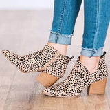 Massimoda Fashion Stylish Pointed Toe Leopard Booties
