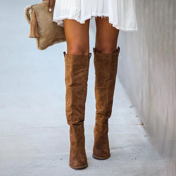 Massimoda Distressed Faux Suede Slouch Boots