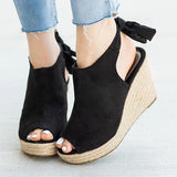 Massimoda Women Back-Knot Wedges Sandals
