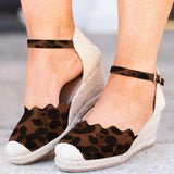 Massimoda Espadrille Closed Toe Mid Heel  Wedge Sandals