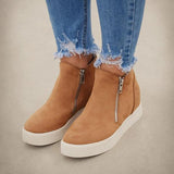 Massimoda Textured Wedge Sneakers