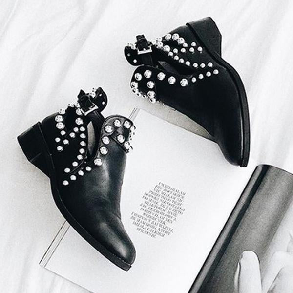 Massimoda Daily Black Adjustable Buckle Rivet Boots