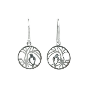 Kererū in Circle Silver Earrings