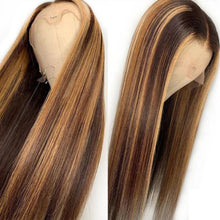 Load image into Gallery viewer, #4/27 color Pre Plucked Lace Front Human Hair Wig 13x4 Straight Brazilian Remy Hair